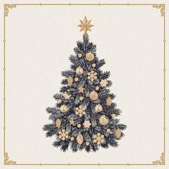 Christmas tree, detailed vintage vector illustration