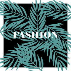Summer print with palm sheets for a t-shirt. Vector background for fashion