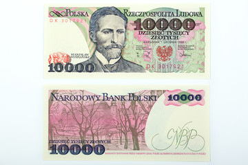 Old Polish money ten thousand zloty
