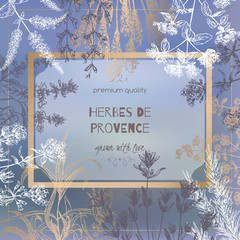 Herbes de Provence template on blurred background with botanical sketches.