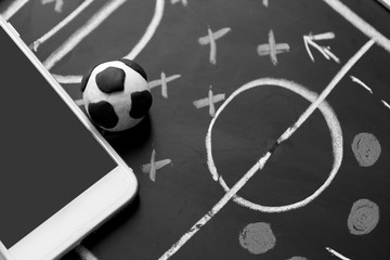 soccer plan with mobile , soccer online sport application concept
