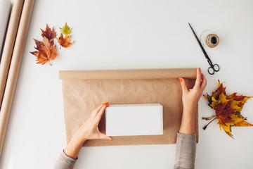 Woman preparing presents