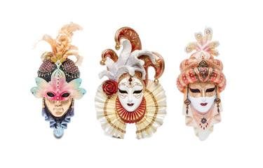Venetian full-face masks for Carnival in street shop of Venice