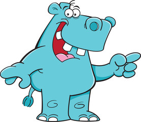 Cartoon illustration of a hippo pointing.