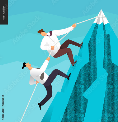 """People Helping Each Other: """"Climbing, Business Partnership Concept"""