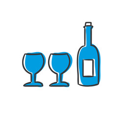 Stick Figure Series Icon / Wein