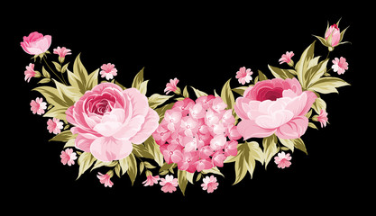 Template of invitation card. Peony garland for holiday card. Awesome flower garland with roses isolated over black background. Vector illustration.