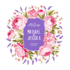 Marriage invitation card. Spring flowers bouquet of rose, peony and hydrengea garland. Wedding card with rose flowers over white background. Vector illustration.