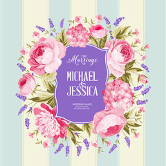 Marriage invitation card. Spring flowers bouquet of rose, peony and hydrengea garland. Wedding card with rose flowers over tile blue background. Vector illustration.