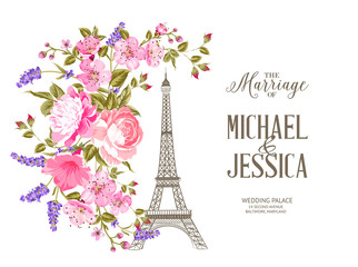 Eiffel tower icon with spring blooming flowers isolated over white background with sign The Marriage of Michael and Jessica. Vector illustration.