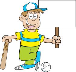 Cartoon illustration of a boy wearing a baseball cap and holding a baseball bat and a sign.