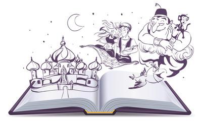 Open book story tale Magic lamp Aladdin. Arab tales Alladin, genie and Princess