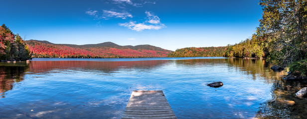 Printed roller blinds Lake Panoramic view of Lake Placid in the Adirondacks on a bright sunny day with colorful autumn foliage