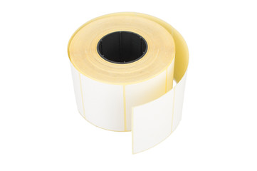 Sticky label rolls. On white, isolated background.