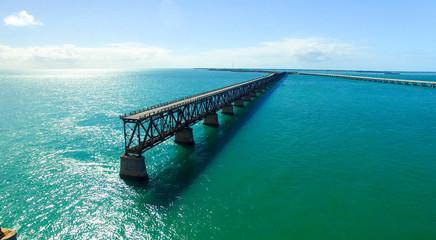 Aerial view of Bahia Honda State Park with old Bridge