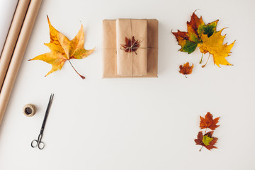 Presents with autumn leaf decorations