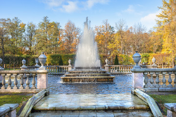 Pyramid Fountain in Lower Gardens of Peterhof, suburb of St. Pet