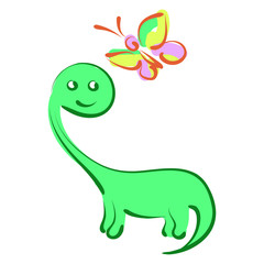 The dinosaur and butterfly a child's drawing.Vector illustration.