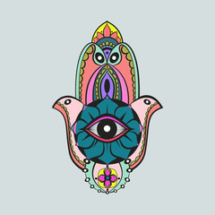 Colorful candycolor bright hamsa Fatima hand protection symbol on grey background
