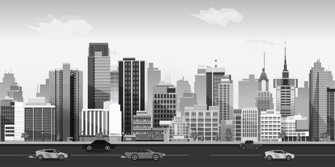 Black and white Landscape for game. Seamless cartoon . vector unending background.