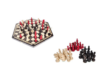 Chess board for three players - white, black and red chess pieces