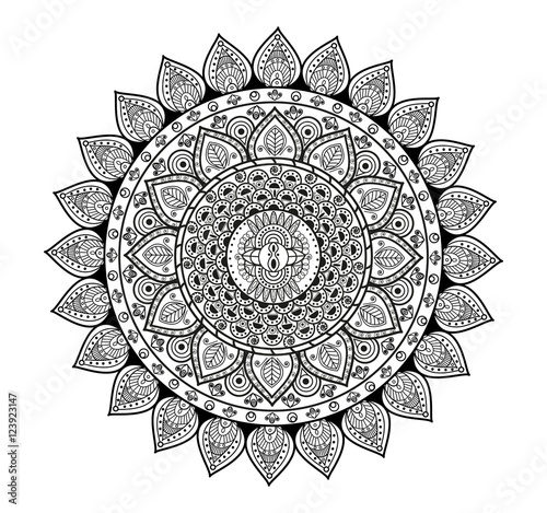 Black And White Mandala Vector For Coloring Book Mandala In Bianco