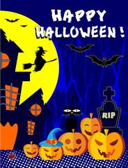 Счастливый Хеллоуин, тыквы на синем фоне, редактируемый файл.