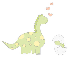 cute cartoon dinosaur with baby funny vector illustration isolated on white background