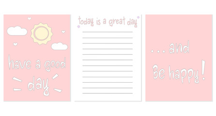 cute printable vector design template for notebook with positive and inspirational hand drawn quotes