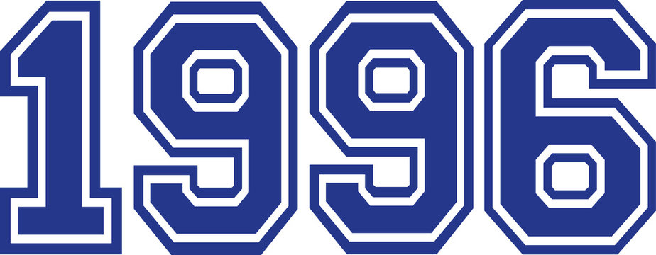 1996 Year college font