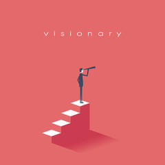 Vision concept in business with vector icon of businessman and telescope, monocular. Symbol leadership, strategy, mission, objectives.