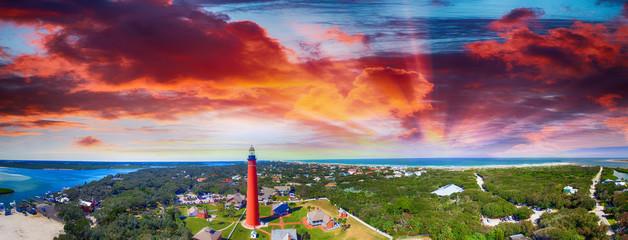 Fototapete - Florida Lighthouse, Ponce de Leon aerial view