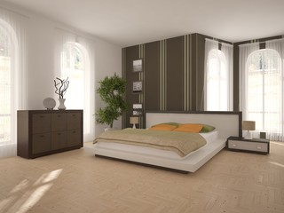 White interior design of bedroom