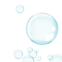 Vector of blue soap bubbles for background