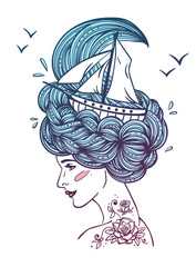 Hand drawn color artwork of a dreaming young beautiful woman with ship in waves of curly swirly sea-like hair and rose tattoo on her neck. Tattoo portrait, zentangle, fashion, marine, postcard.