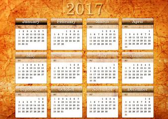 Template of 2017 vintage calendar
