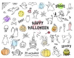 Set of Halloween doodles