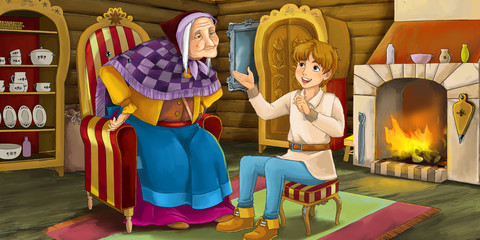 Cartoon traditional scene with old woman - grandmother - young boy - illustration for children