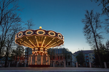 Children carousel with night illumination enabled