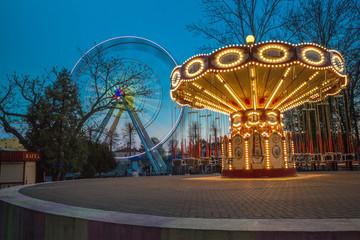 Children's Carousel at night lighting
