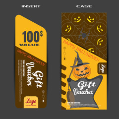 Vector gift voucher to Halloween sale with insert on the brown background.