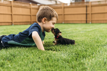 Boy kissing dog while lying on grass