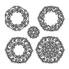 vector, contour, design element, black and white illustration, a set of mandala, round frame, floral ornament, doodle style coloring page