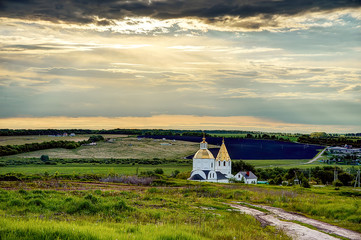 Country Church At Sunset Landscape