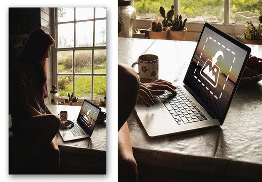 Woman Sitting on Table Using Laptop Mockup