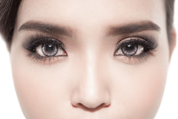 Close up woman eyes