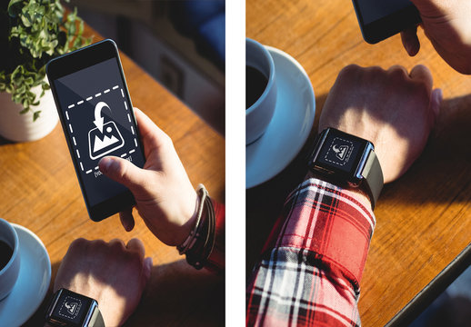 Phone and Smart Watch User with Coffee Mockup