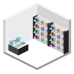 Isometric flat 3D interior of book shop.