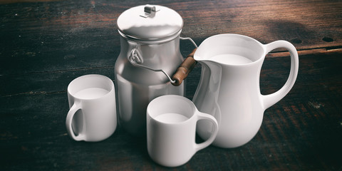 Can, jug  and cups with milk. 3d illustration