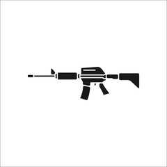 Assault rifle symbol silhouette icon on background